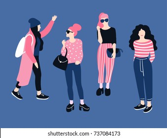 Fashionable young women in casual style.  Vector hand drawn stylish set with girls. Bright design.