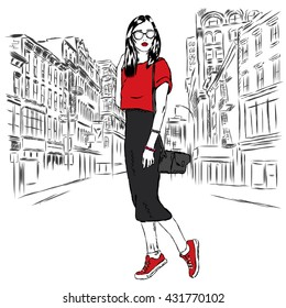 Fashionably dressed girl on the background of a city street. Vector illustration for greeting card, poster, or print on clothes. Fashion & Style. Beautiful girl.