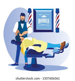 Fashioned Bearded Barber Styling Client Beard with Straight Razor in Men Beauty Salon Barbershop. Customer Lying on Transforming Armchair in Hipster Grooming Place, Cartoon Flat Vector Illustration