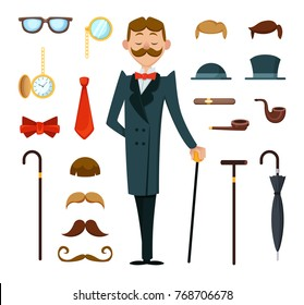 Fashioned retro gentleman with different accessories of victorian style. Creation mascot kit. Fashion gentleman vintage style with mustache and glasses, illustration