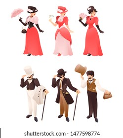 Fashioned retro victorian lady and gentleman with different accessories. Fashion gentleman character with cane, hat, suit. Vintage woman with umbrella, fan, monocle. Vector cartoon illustration
