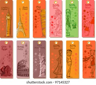 Fashion's labels for travel around the world , the vector