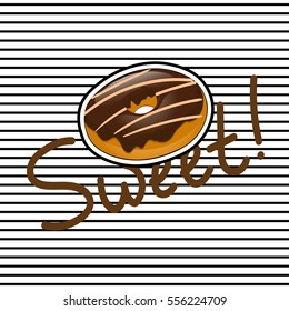 Fasion cute t-shirt design with badge of sweet chocolate donut