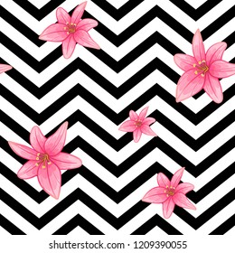 fasion pattern pink lily flower on black stripes background seamless . repeatable  tender bright beautiful botanique striped ornament. vector design for packaging, textile, interior