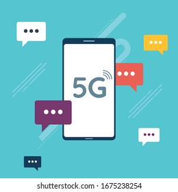 Fast 5G internet connection concept. Chat in mobile phone or smartphone on message app in fast connection, dialogue with speech bubbles. Icon set in flat design vector on green background.