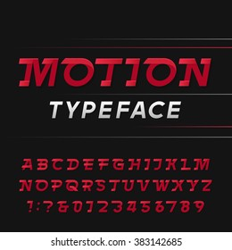 Fast alphabet font. Motion effect simple letters and numbers. Vector typography for logos, headlines, posters etc.