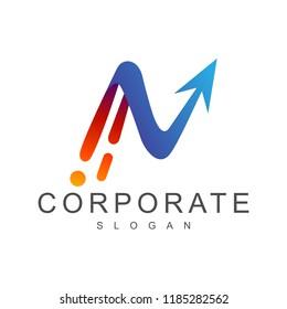 fast arrow letter n, business logo design