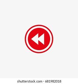 fast back rewind button vector icon