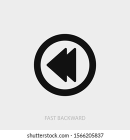 Fast backward button icon. New trendy fast backward vector illustration symbol.