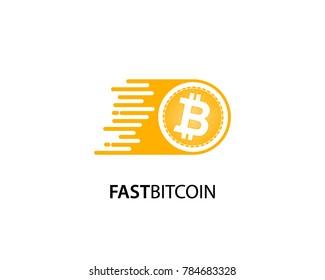 Fast Bitcoin logo template design vector