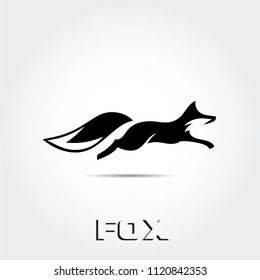 fast black white jump fox logo