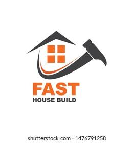 fast  build and renovation logo icon vector illustration design