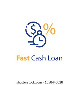 Fast cash loan, financial supply, banking service, instant money transfer, payment fee, vector line icon