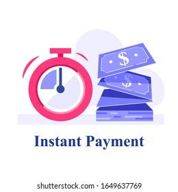 Fast cash, small loans, borrow money, financial solution, micro lending, finance provision, business grant, vector flat illustration