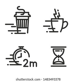 Fast coffee cup icons. Take away coffee cup icon. Disposable cup vector illustration. Coffee to go icon on white background. Get ready in 2 min icon. Clock timer icon.