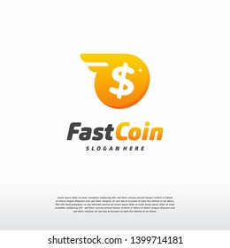 Fast Coin Logo with wings designs concept vector, Fast Cash logo template, Money logo designs