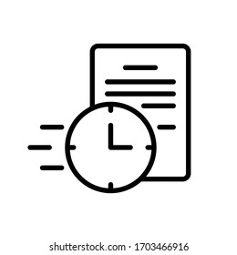 Fast contract. Linear icon of instant deal. Black illustration of quick paperwork, business negotiations, submit formal requests, receive response letter. Contour isolated vector on white background