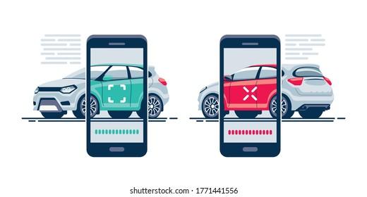 Schnelle und bequeme Autosuche mit der mobilen Anwendung auf Ihrem Smartphone. Fahrzeug mit mobiler Vorrichtung prüfen.
