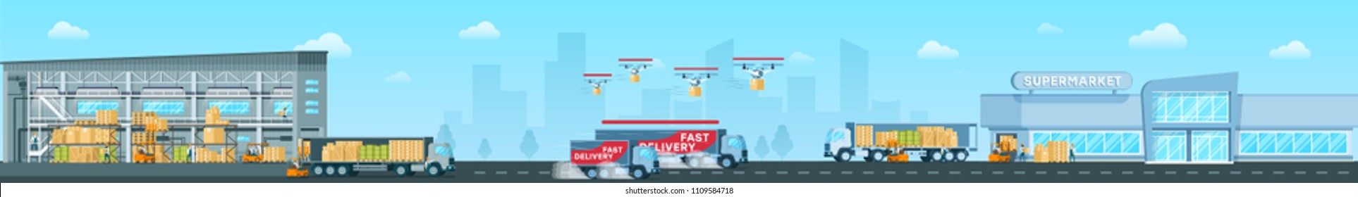 Fast Delivering Goods from Warehouse to Supermarket Long Panoramic Vector Banner or Concept in Flat Design. Loaded Postal Drones and Cargo Trucks Delivering Freights from Big Storehouse to City Mall