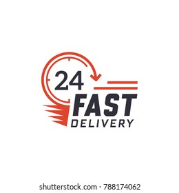 Fast delivery 24 hour. Delivery label for online shopping. Worldwide shipping. Vector illustration
