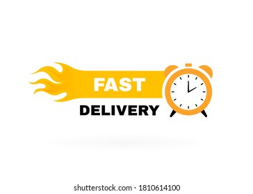 Fast delivery badge with stopwatch label and fire. Banner template design for shipping, delivery and moving company. Vector illustration.