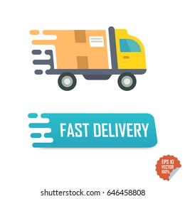Fast delivery button with truck. Fast delivery vector isolated icon