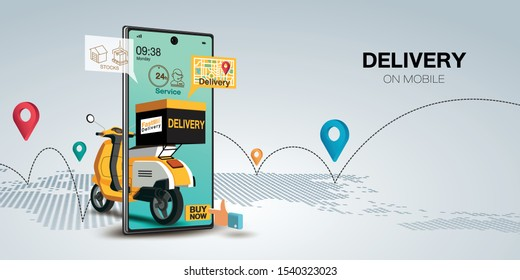 Fast delivery by scooter on mobile. E-commerce concept. Online food order infographic. Webpage, app design. Gray background. Perspective vector