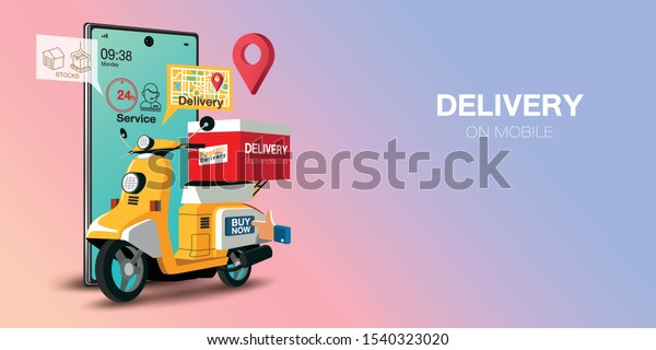 Fast delivery by scooter on mobile. E-commerce concept. Online food order infographic. Webpage, app design. Pink and Blue background. Perspective vector