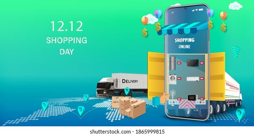 Fast delivery by truck, forklift and courier. on mobile. E-commerce online concept. 12.12 December Super Shopping Day .Online infographic. Webpage, app design. vector illustration.
