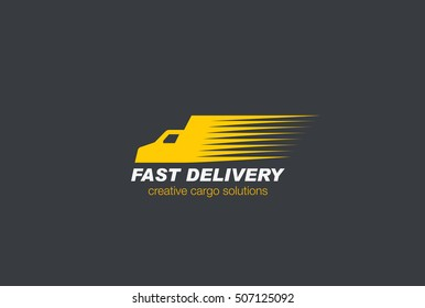 Fast Delivery Car Logo Cargo design vector template. Transportation truck speed moving Logotype concept icon.