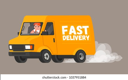Fast delivery. The driver on the van rushes to deliver the goods to customers and quickly rides leaving a cloud of dust behind. Vector illustration in a flat style