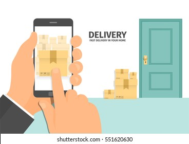 Fast delivery flat isometric vector concept. Fast shipping to the door of your house.