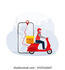 Fast delivery in flat style. Food delivery service. The courier rides a motorbike with the goods.