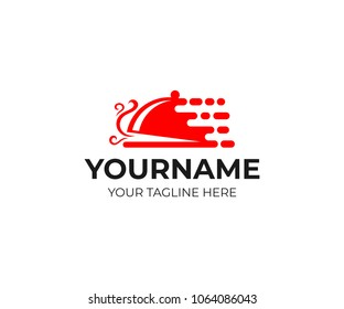 Fast delivery food, logo template. Restaurant, cafe and snack bar, vector design. Takeaway hot food and home delivery, illustration