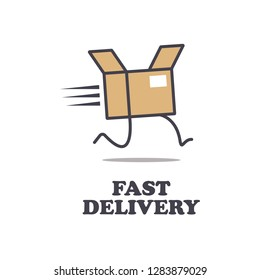 Fast delivery icon, Running parcel box with legs and shadow, isolated vector on white.