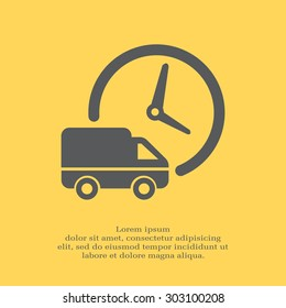 Fast delivery icon silhouette shipping truck isolated on white background vector illustration