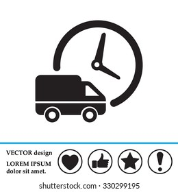 Fast delivery icon silhouette shipping truck isolated. vector illustration