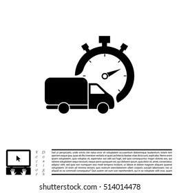Fast delivery icon (silhouette). shipping truck isolated. vector illustration