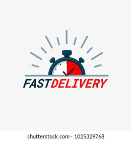 Fast delivery icon. Timer and fast delivery inscription on light background. Fast delivery, express and urgent shipping, services, chronometer sign. vector illustration