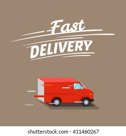 Fast delivery illustration, with isometric red van. Vector illustration