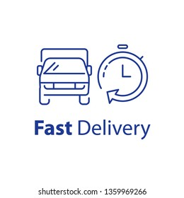 Fast delivery line icon, transportation vehicle front view and stopwatch with arrow, rental truck services, vector linear illustration