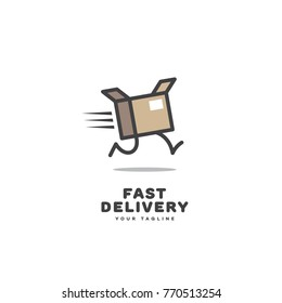 Fast delivery logo template design with a running box. Vector illustration.