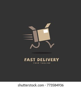 Fast delivery logo template design with a running box on a dark background. Vector illustration.