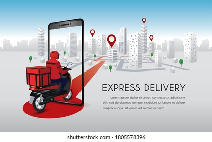 Fast delivery man with motorcycles. Customers ordering on mobile application,The motorcyclist goes according to the GPS map,The background is blue and gray with buildings and trees.
