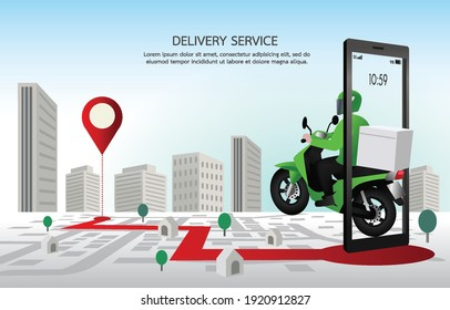 Fast delivery man with motorcycles. Customers ordering on mobile application,The motorcyclist goes according to the GPS map,The background is a cityscape. Illustration vector design for banner, web