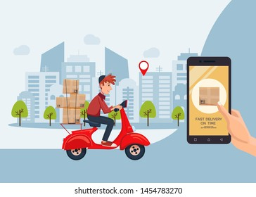Fast delivery on time service by scooter with courier banner. Mobile application. Hand holding smartphone with online internet order. Flat cartoon vector illustration