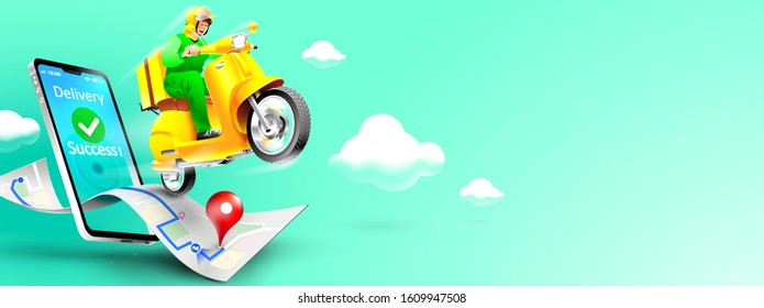 Fast delivery package by scooter on mobile phone. Order package in E-commerce by app. Tracking courier by map application. Three dimensional concept. Vector illustration