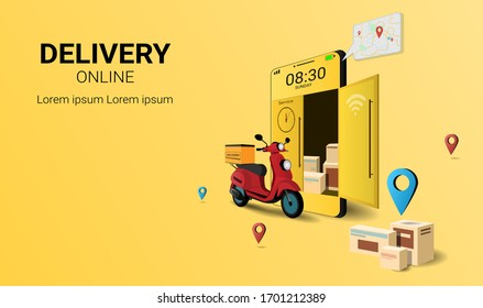 Fast delivery package by scooter on mobile phone. Online delivery service. Internet e-commerce.  concept of web page design for website, banner and mobile website. Perspective Vector illustration