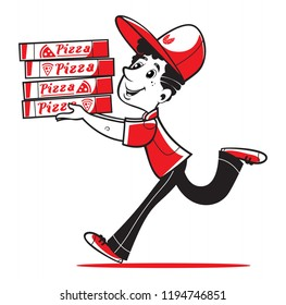 Fast  delivery. Pizza delivery. Funny cartoon pizza delivery man running with cardboard box with stylized pizza logo. Isolated vector illustration.