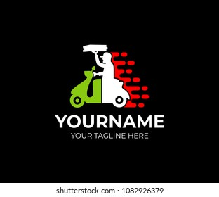Fast delivery pizza man on scooter and the Italian flag, logo template. Man working the pizza courier, delivery fast food, vector design. Italian pizza home delivery, illustration